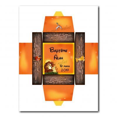 Boite dragées roi lion fond orange et marron