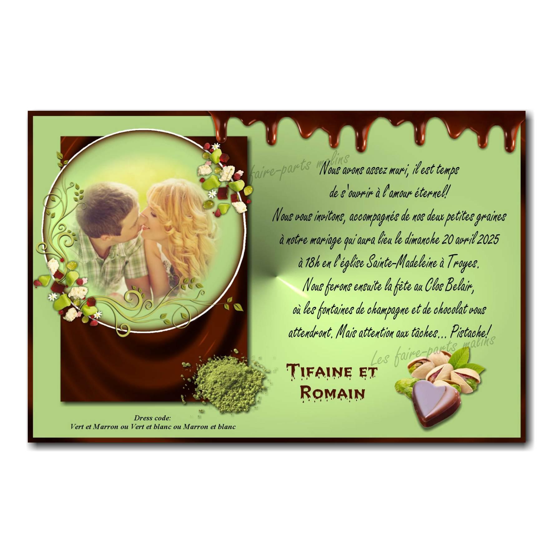 Faire part noix de pistache et coeur chocolat fondant