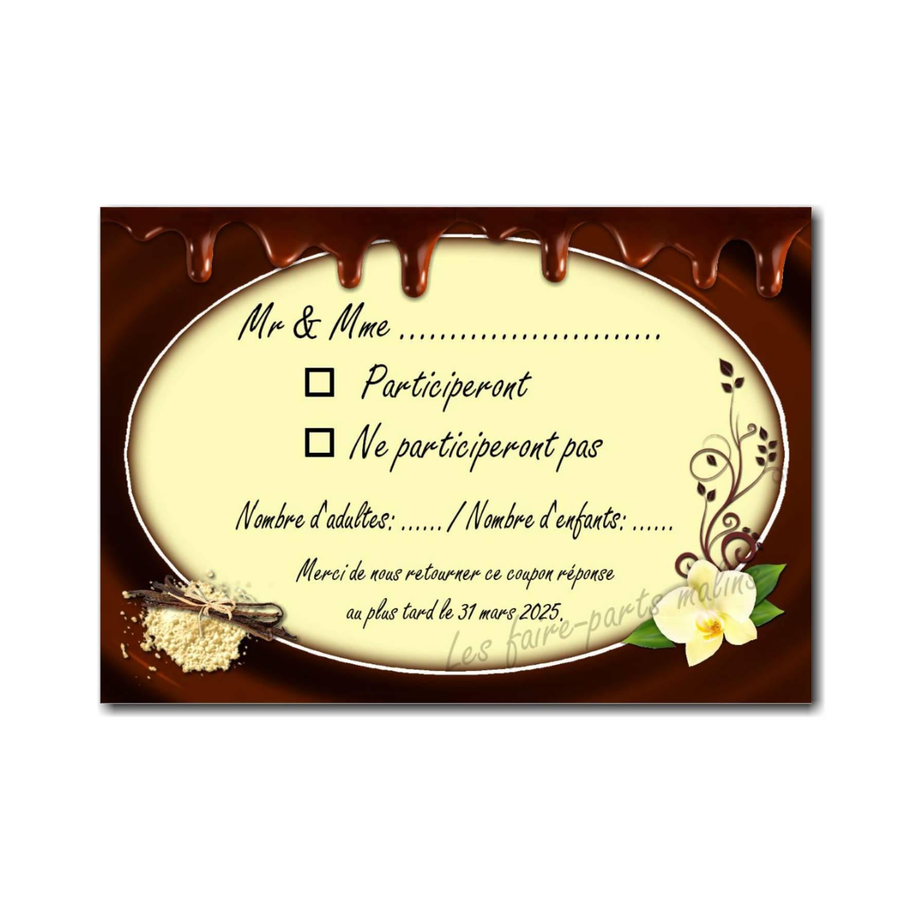 coupon réponse chocolat fondant et vanille