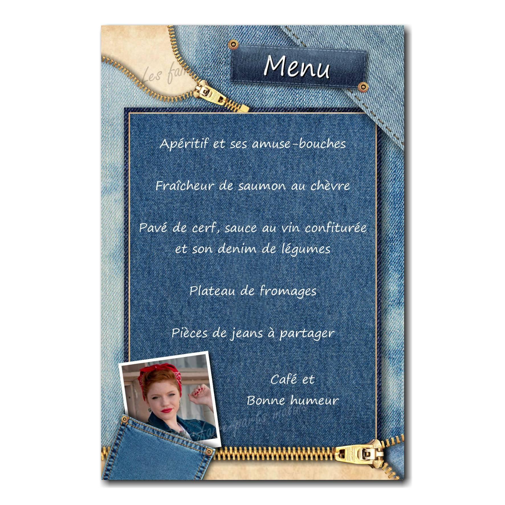 carte de menu photo dans poche de jean