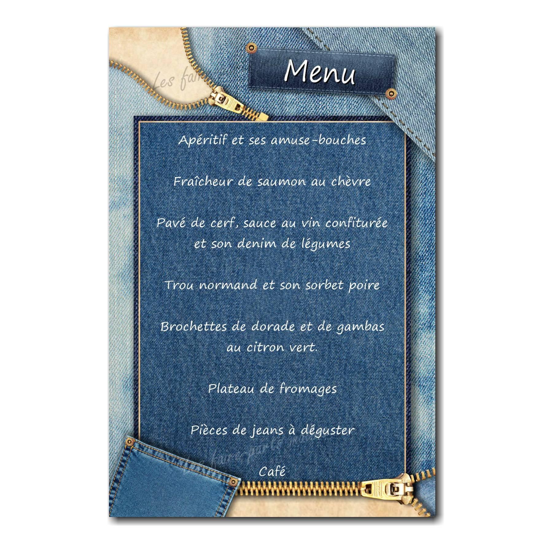 carte de menu blue jean