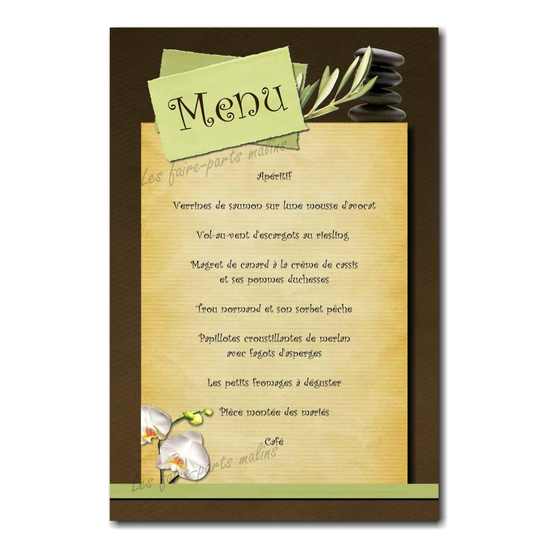 carte de menu vert et marron mariage zen