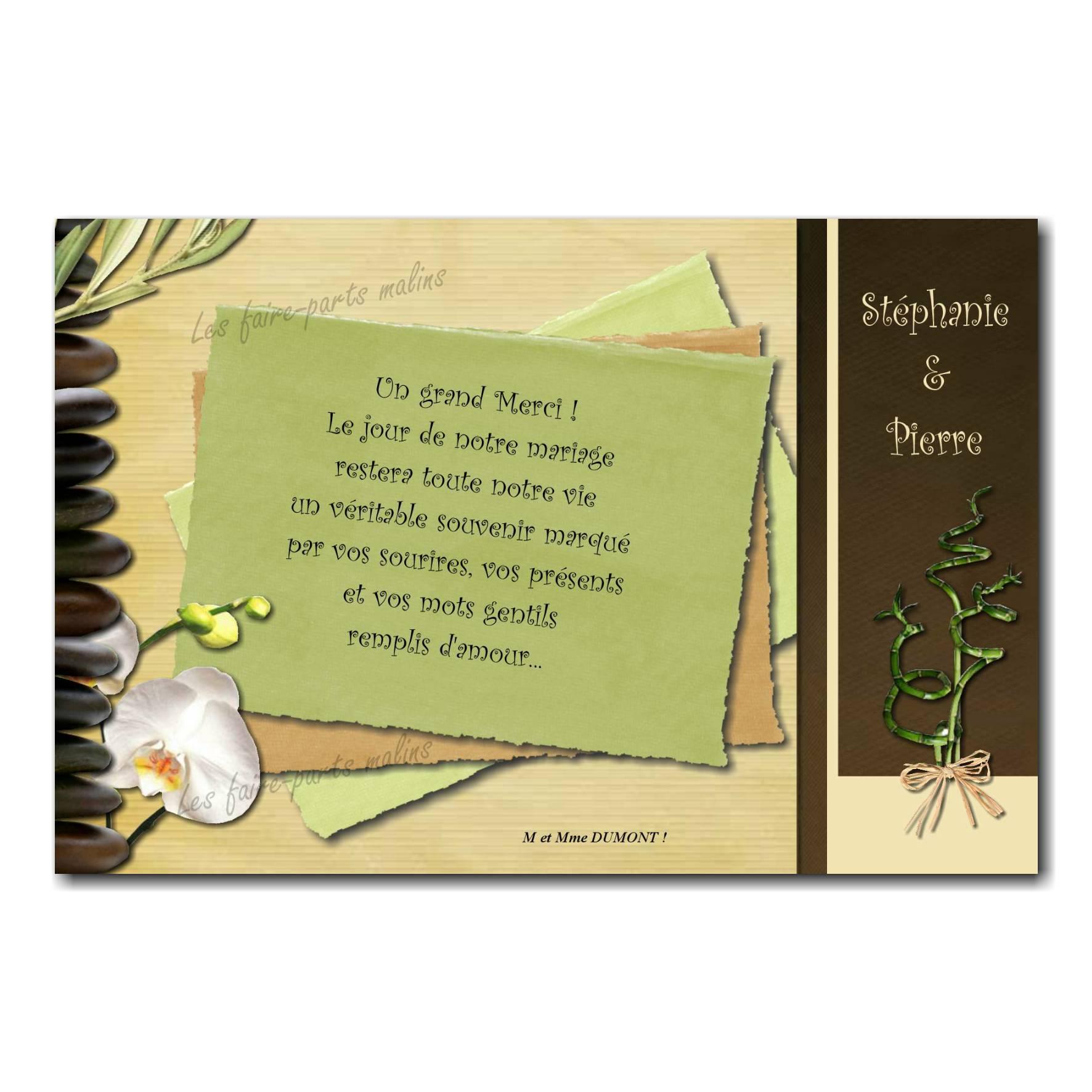 cartes de remerciements orchidée zen attitude