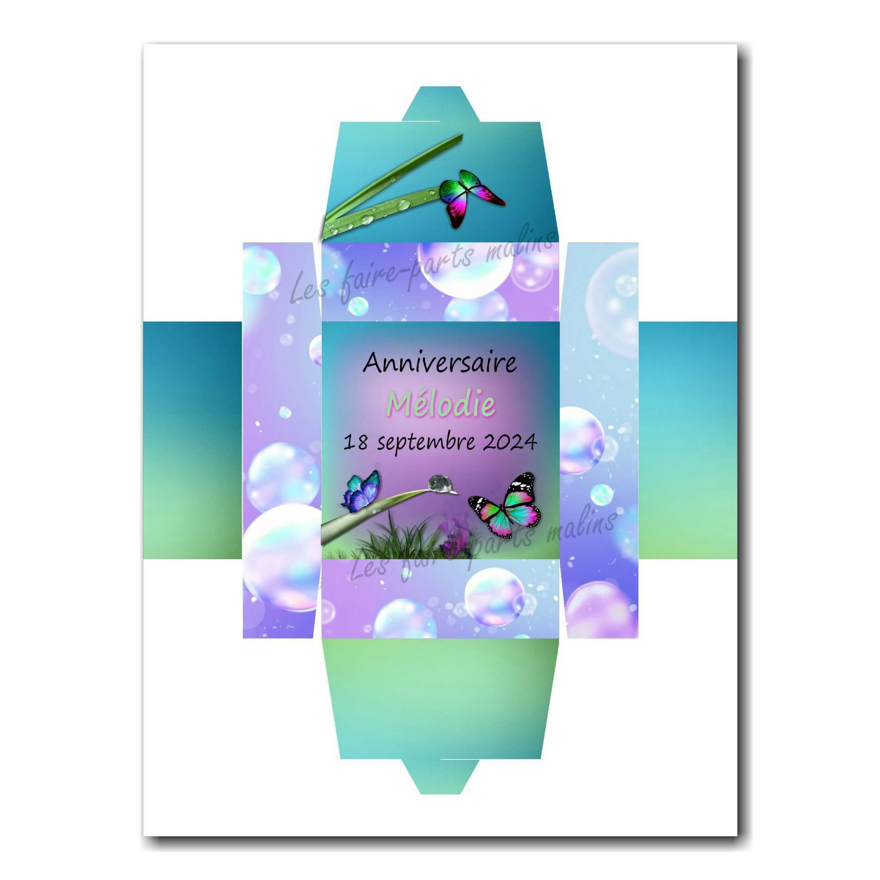 Boite dragées papillon violet