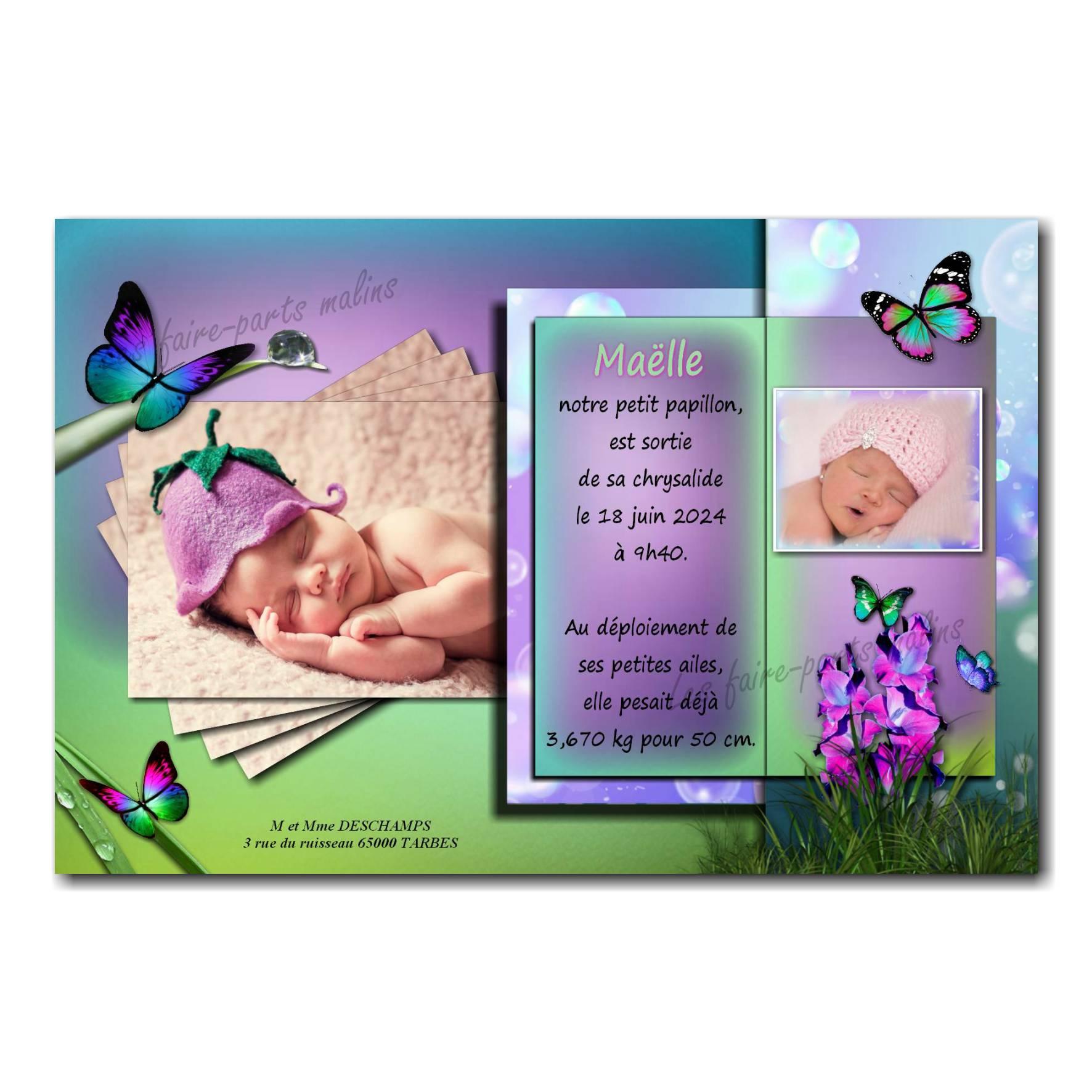 faire part papillon violet et vert