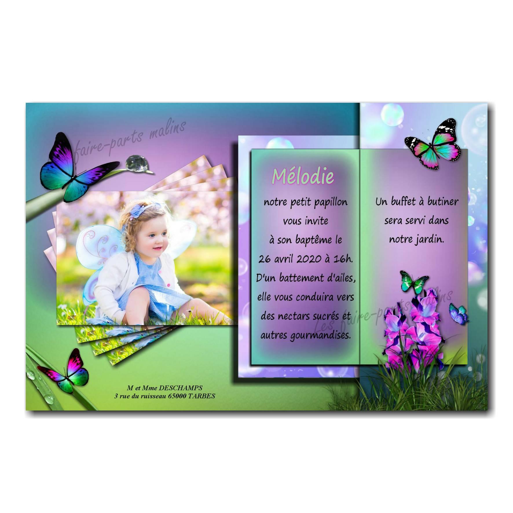 faire part papillon baptême violet et vert