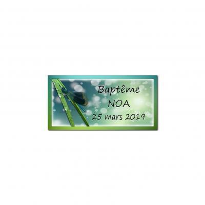 Etiquette dragees libellule bleu et vert