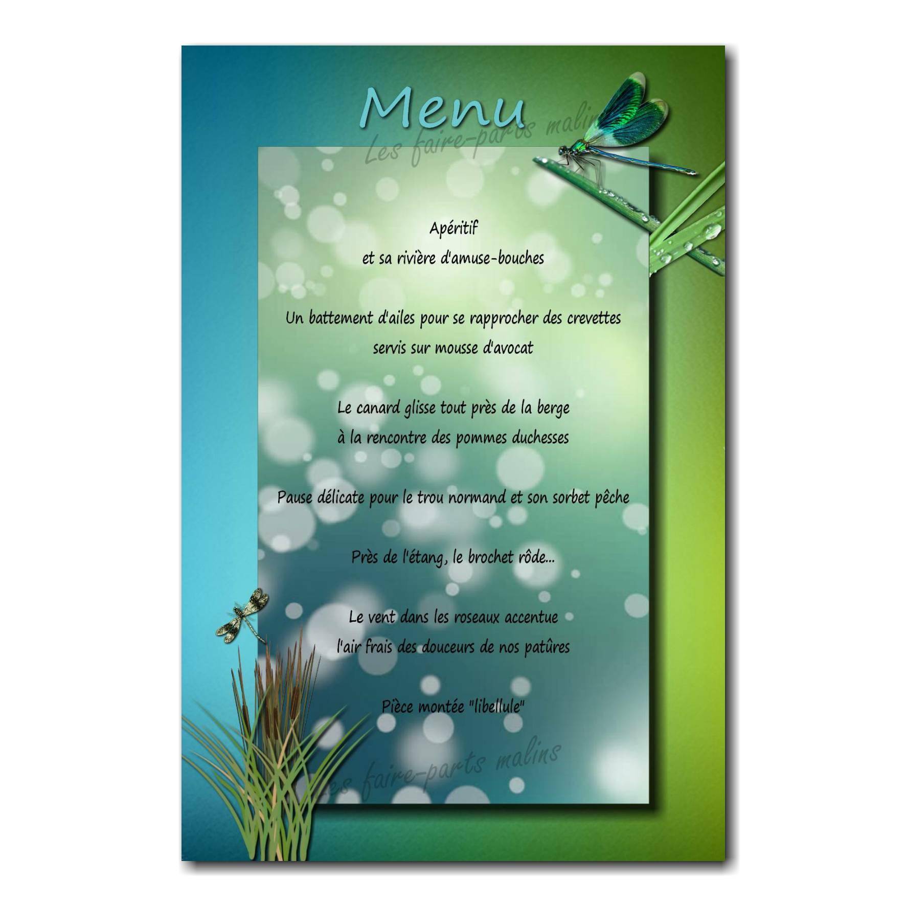 carte de menu libellule bleu et vert