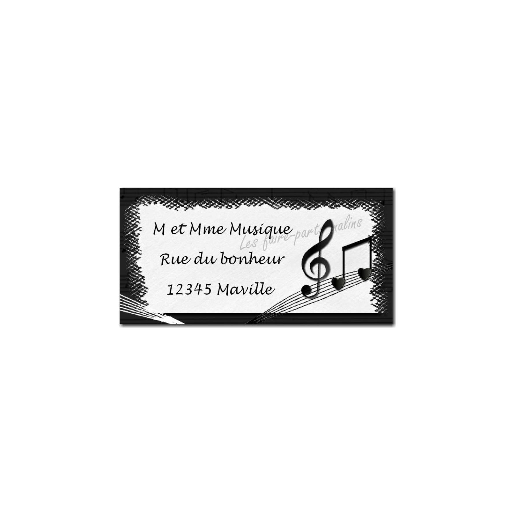 étiquette adresse musique