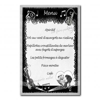 carte de menu noir et blanc musique partition