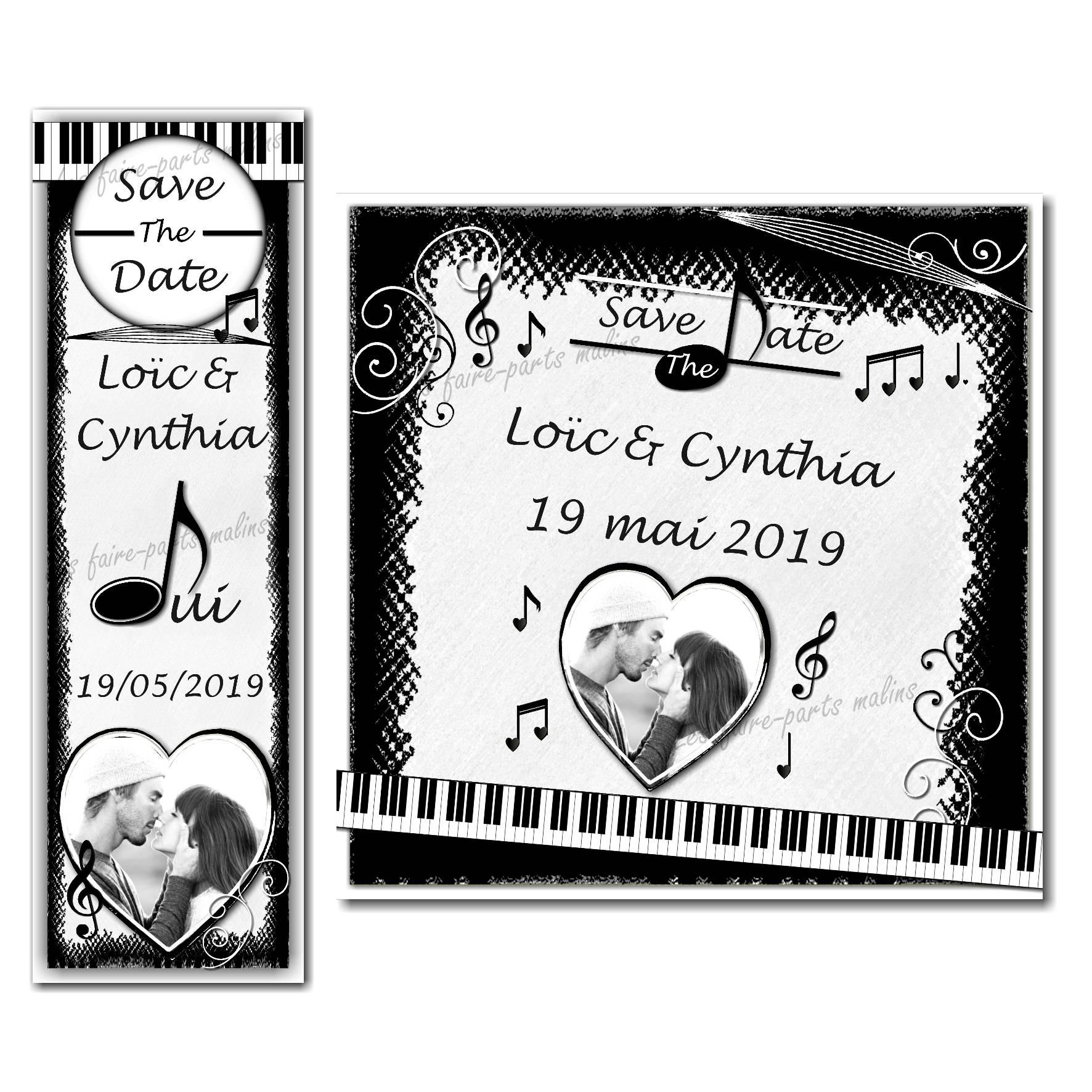 save the date musique en noir et blanc