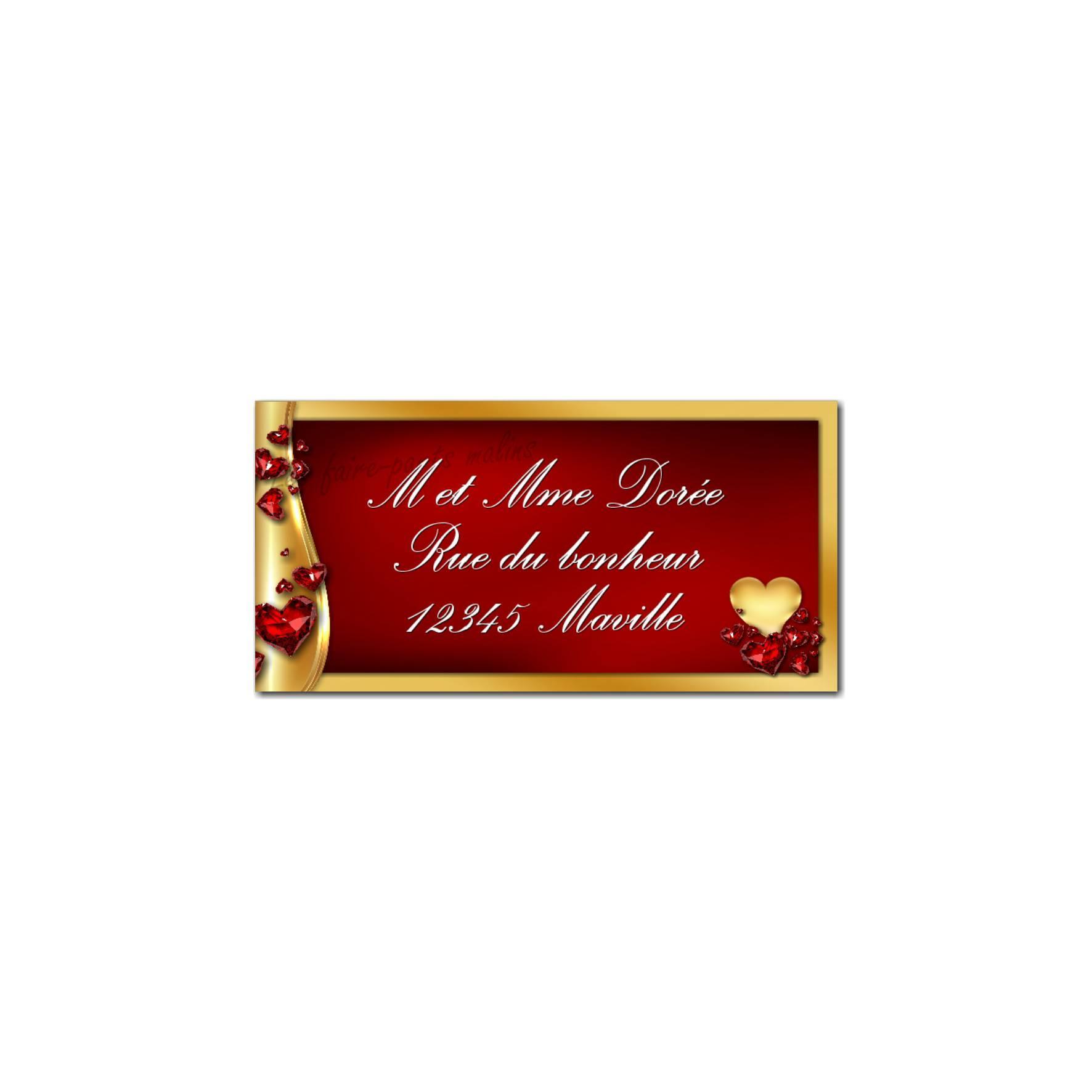 étiquette adresse or et rubis