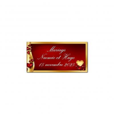 Etiquette dragées or et rouge