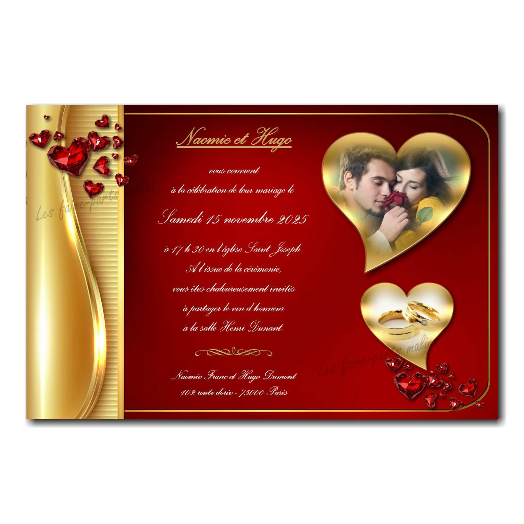 Faire part anniversaire de mariage noce d'or rouge et coeur