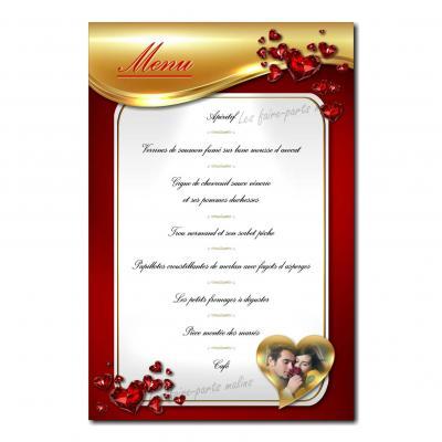 carte de menu rouge et or avec coeur doré