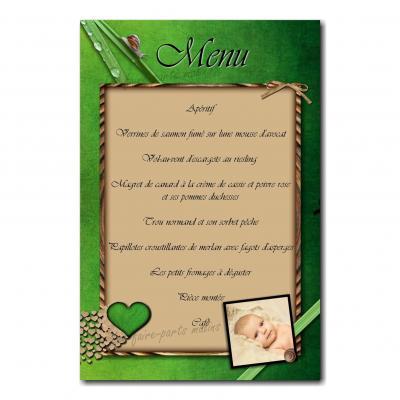 carte de menu avec petit escargot sur fond vert