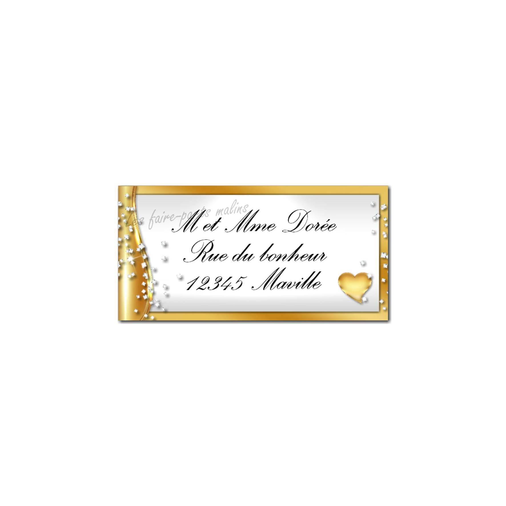 étiquette adresse or et blanc