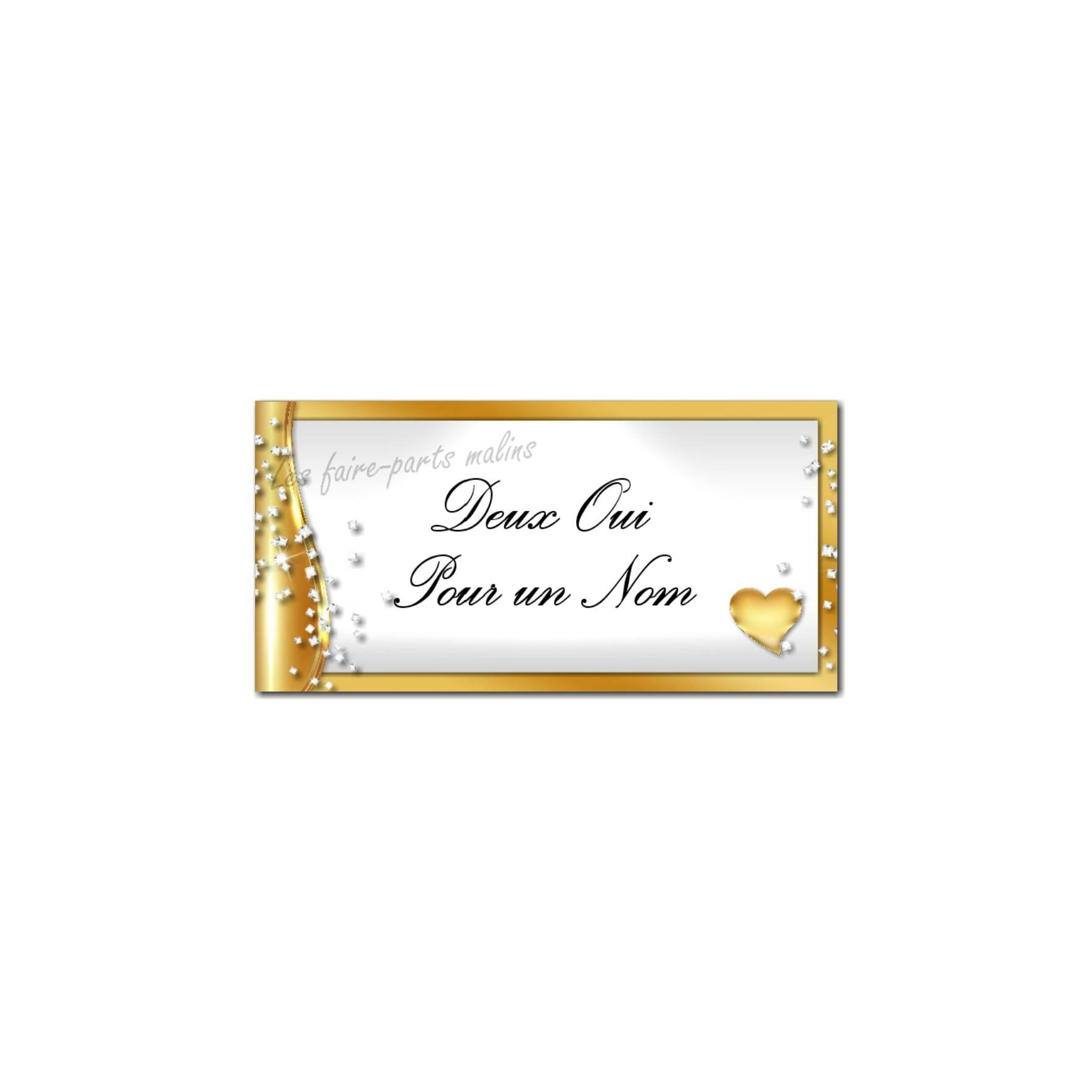 étiquette enveloppe or et blanc