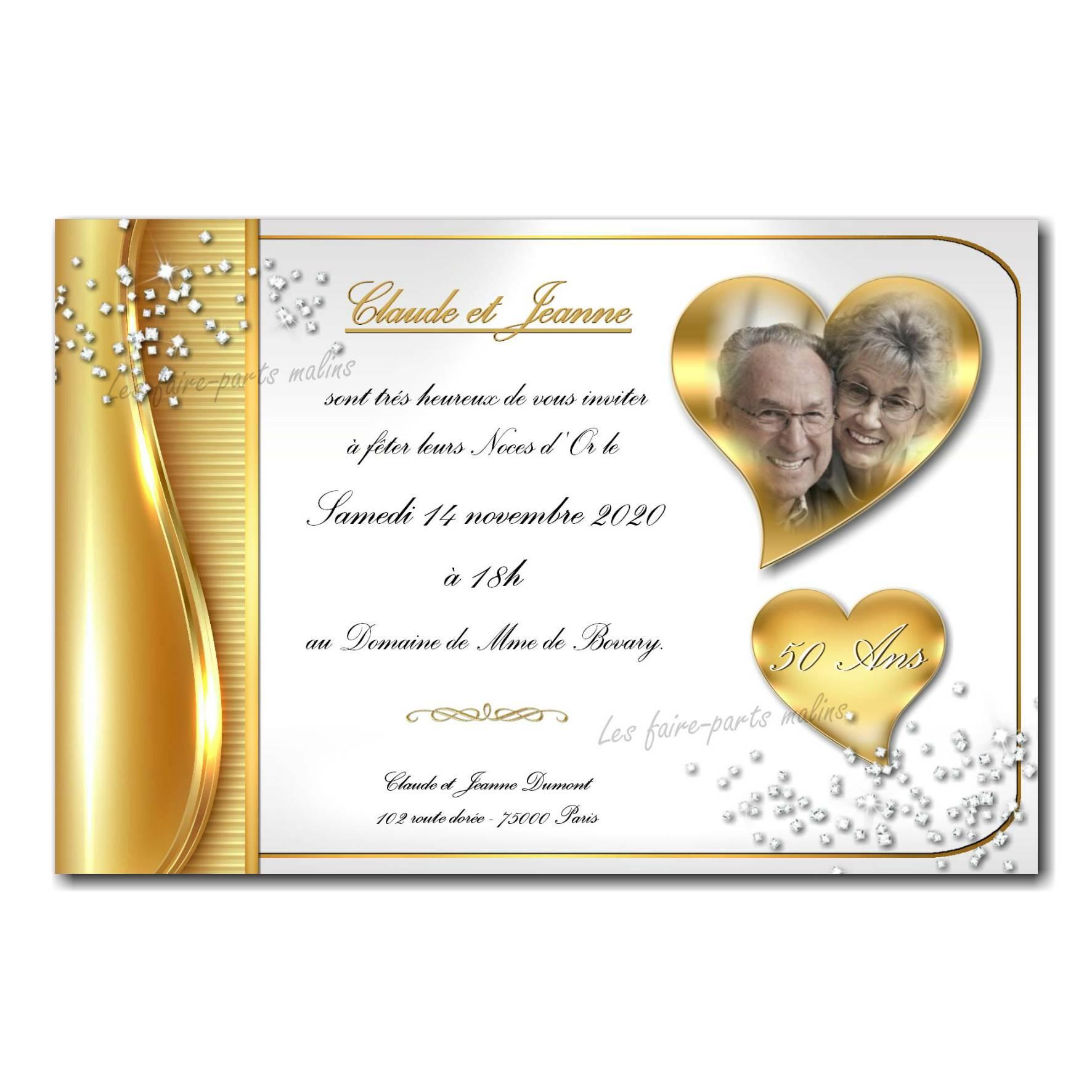 39 mariage faire part noces d or
