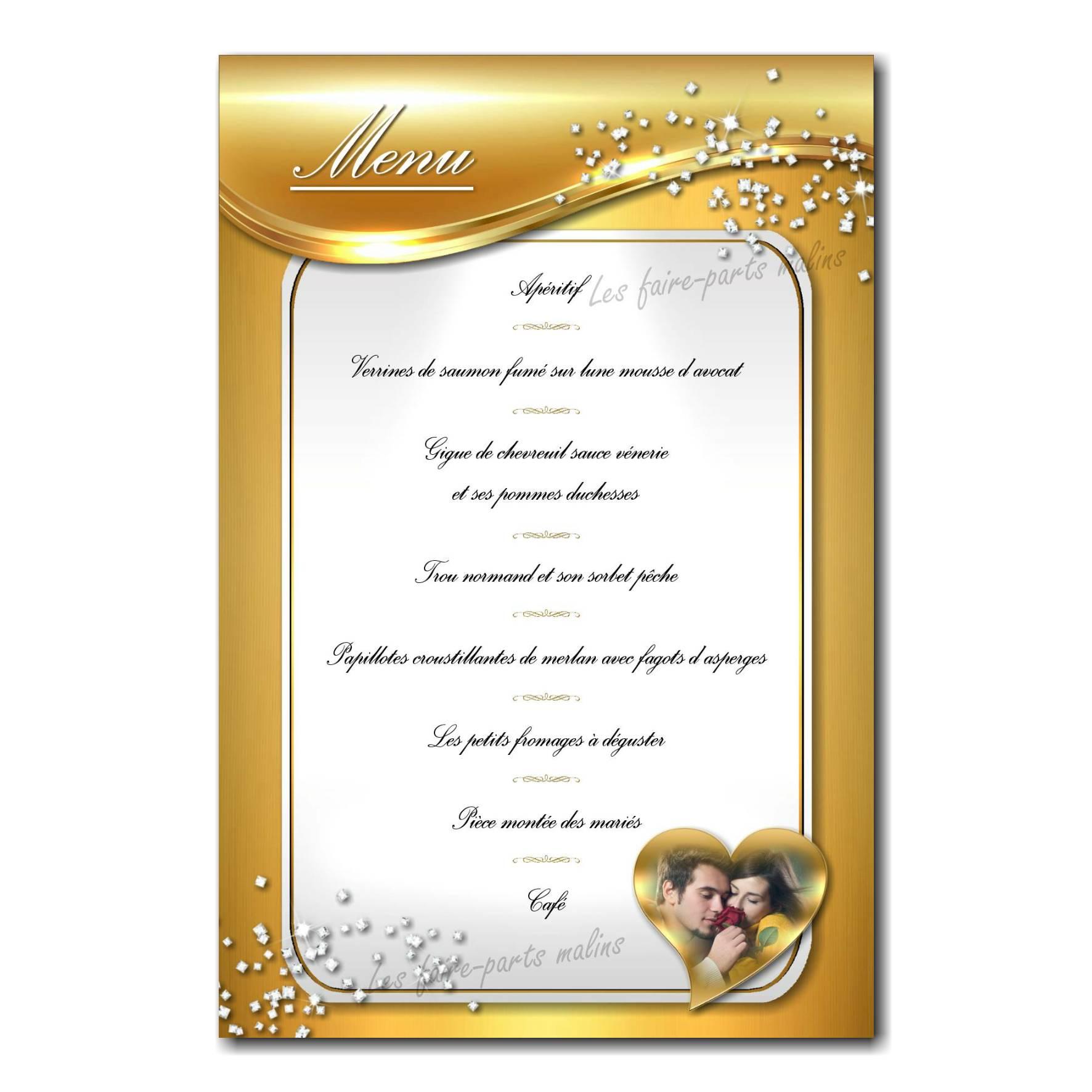 carte de menu blanc et or anniversaire de mariage