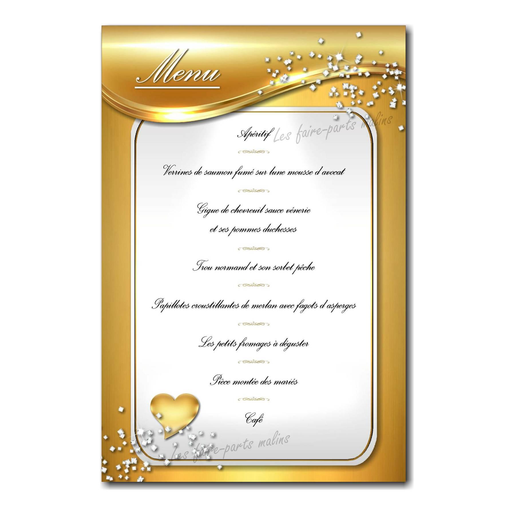 carte de menu paillettes sur fond doré