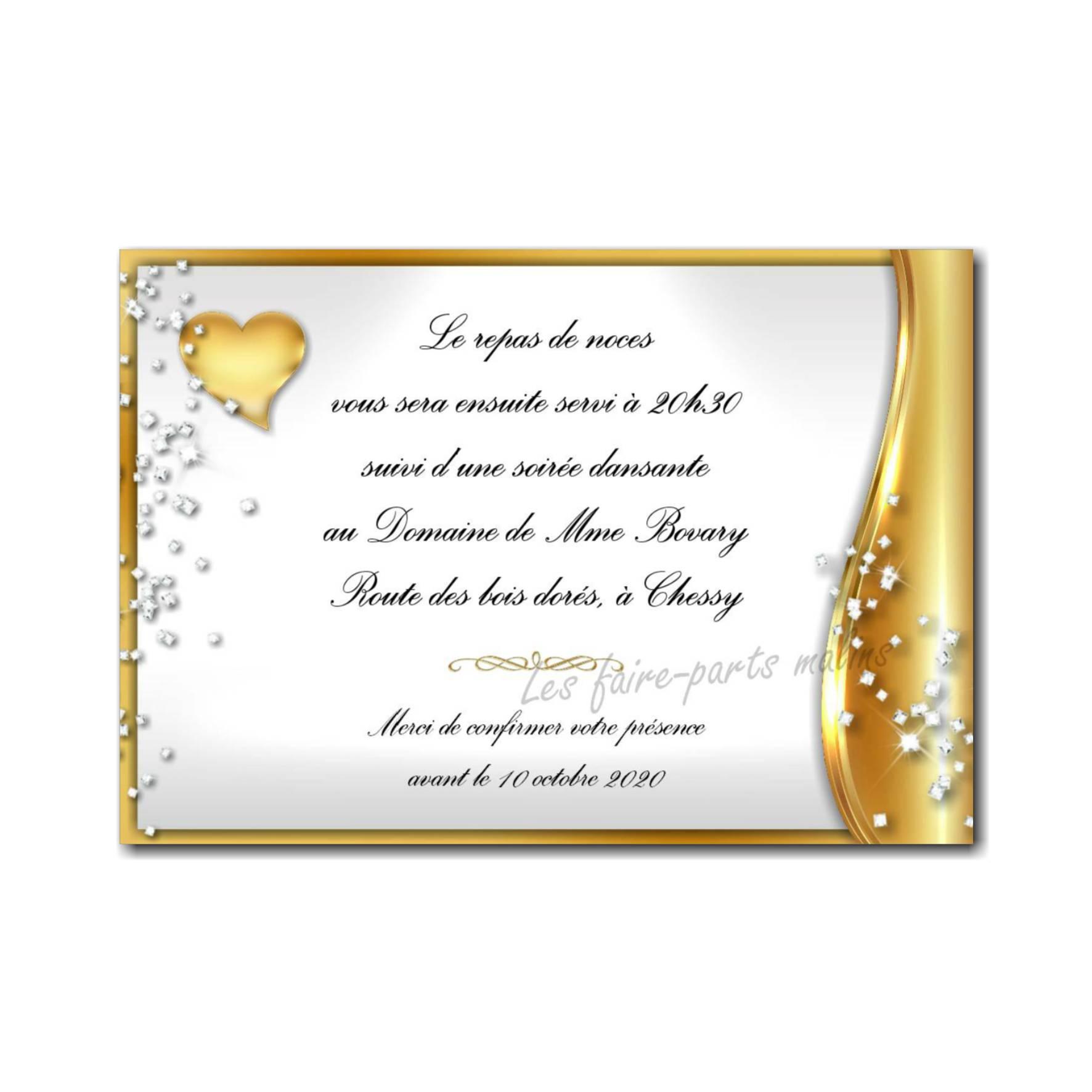 petite carte repas noces d'or avec coeur