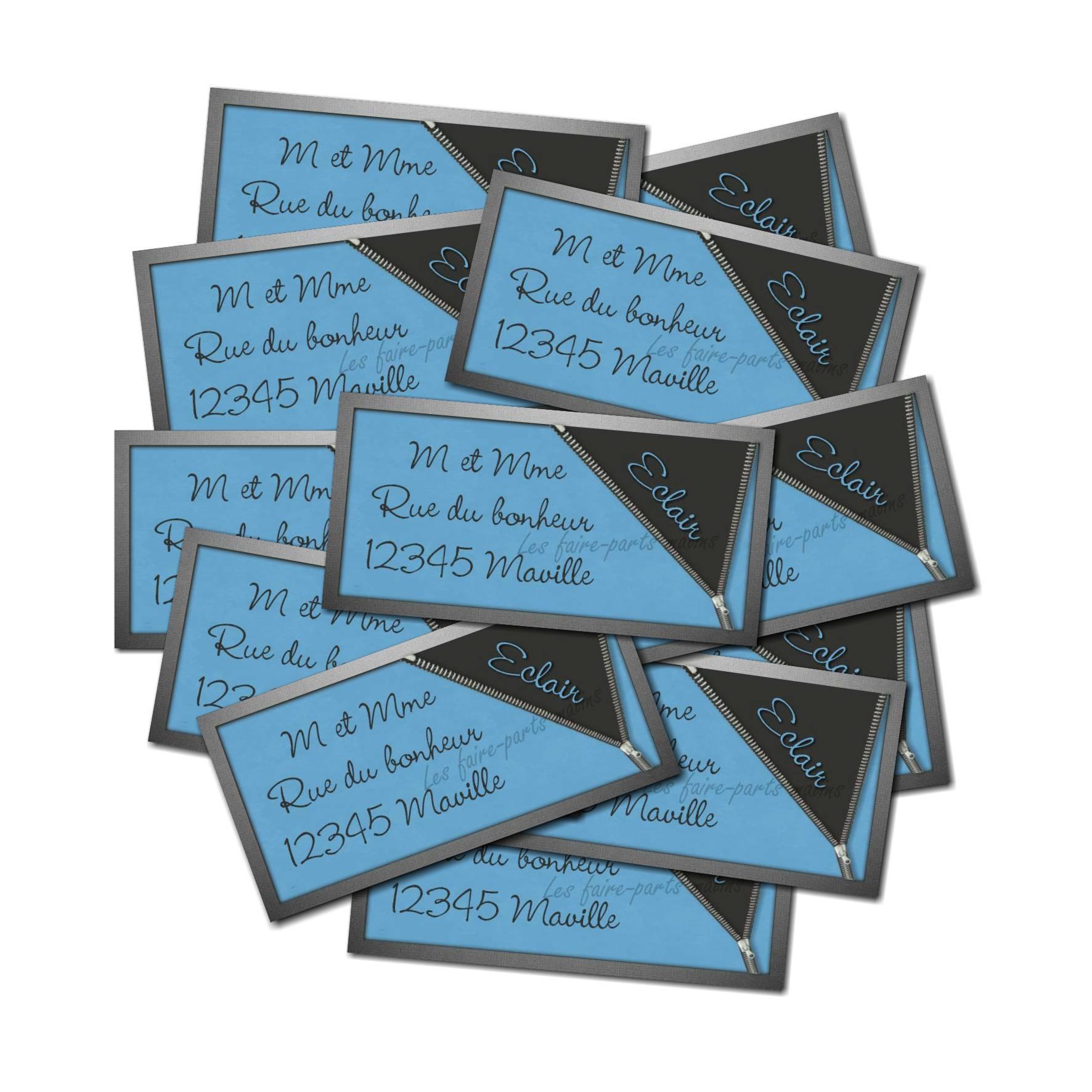 Etiquette dragées autocollante bleu et gris