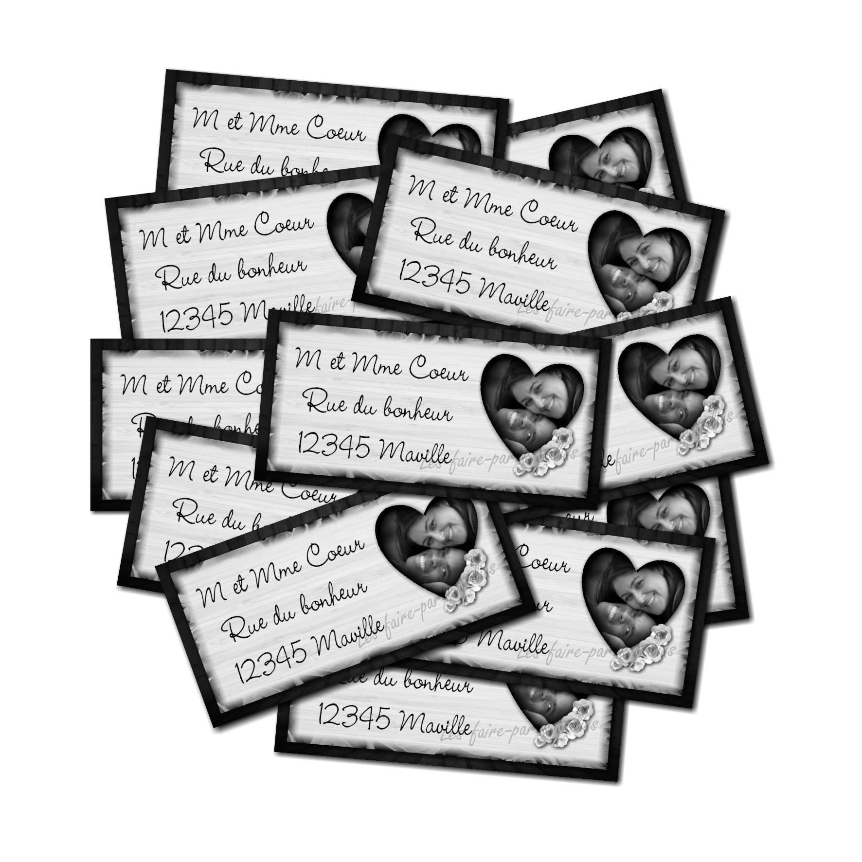 Etiquette dragées autocollante coeur noir et blanc
