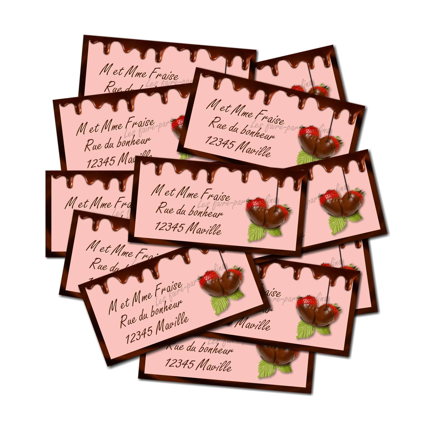Etiquette dragées autocollante avec fraise et chocolat