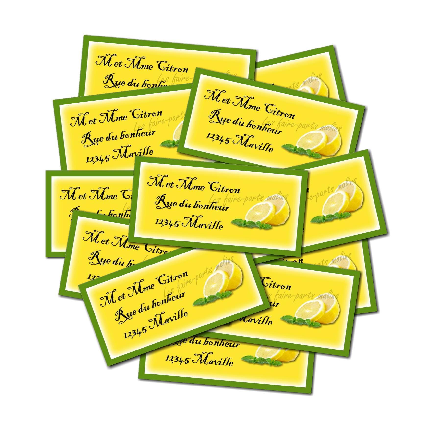 lot Etiquette dragées jaune avec citron coupé
