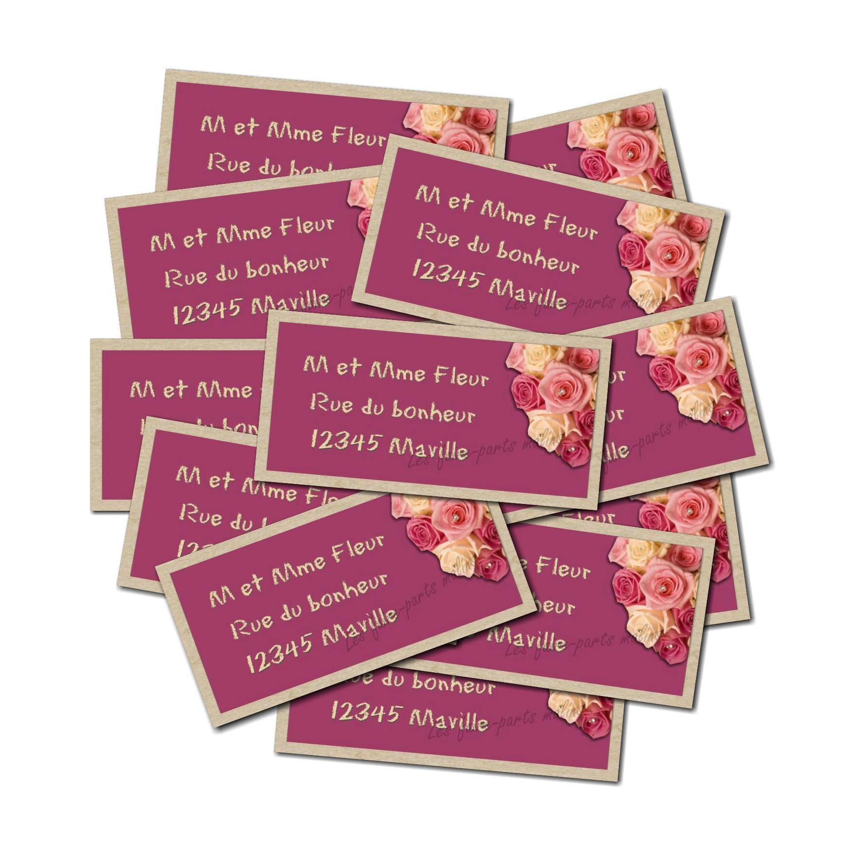 Etiquette dragées autocollante bouquet de roses