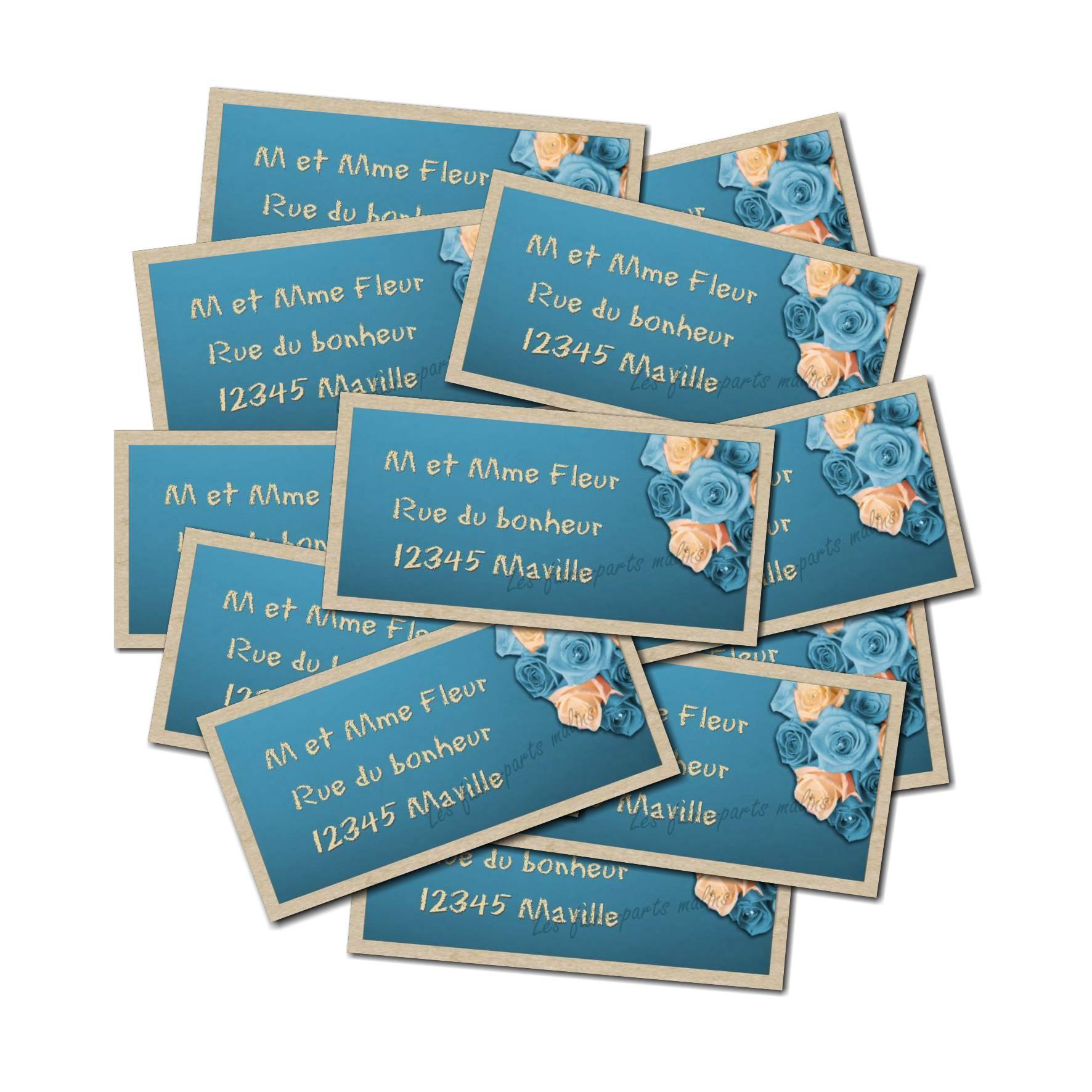 Etiquette dragées autocollante roses bleues