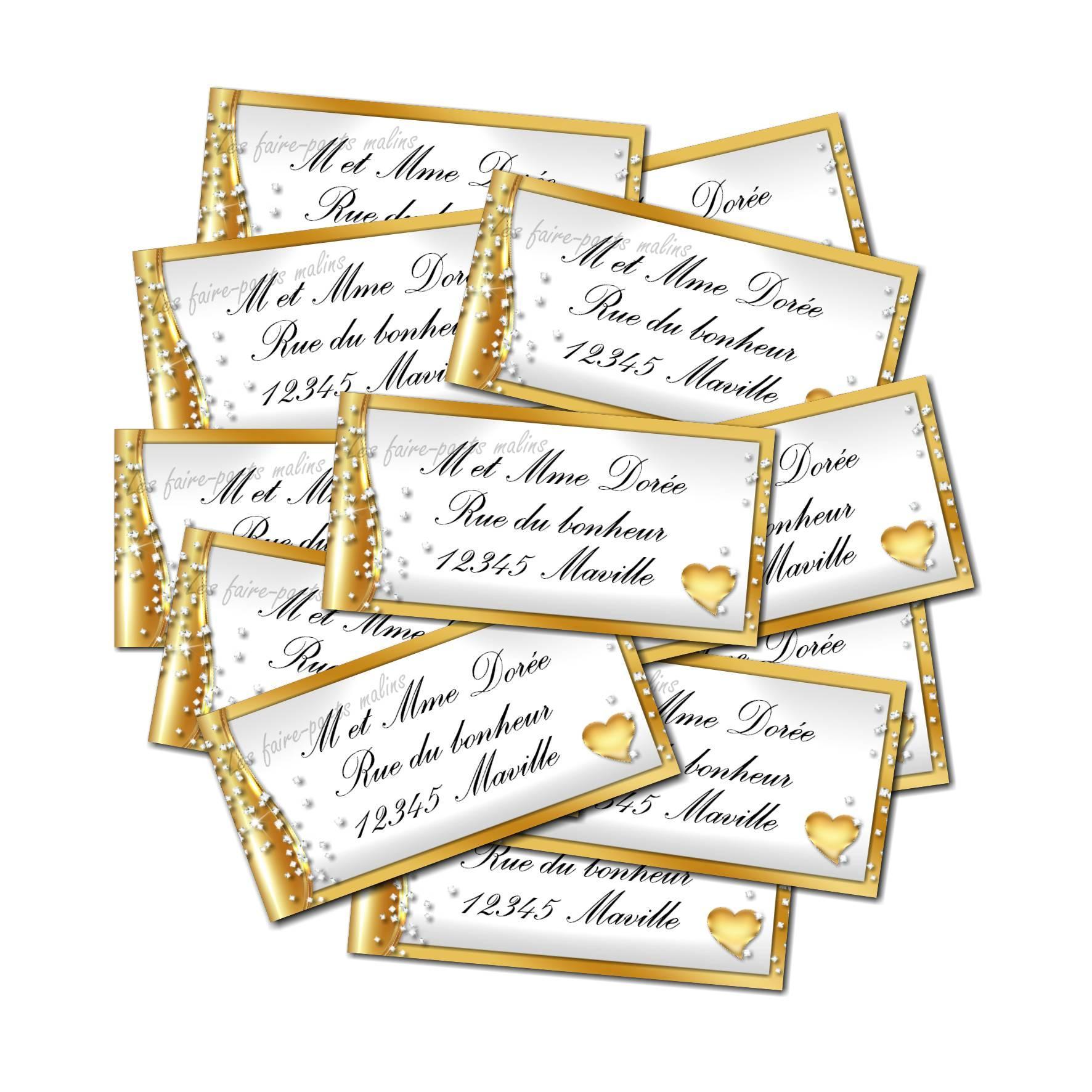 Etiquette dragées autocollante en or et blanc