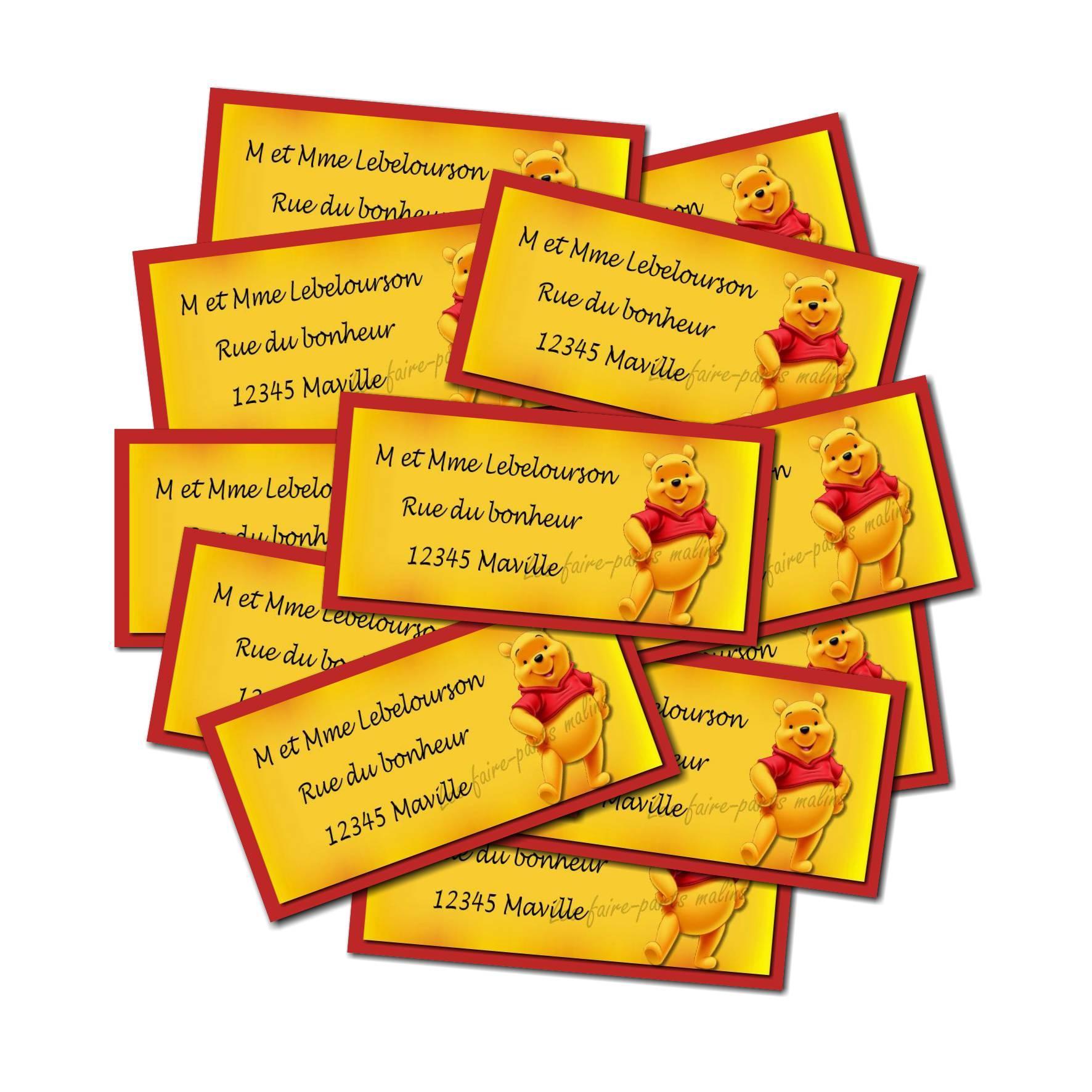 lot Etiquette dragées jaune et rouge avec winnie l'ourson