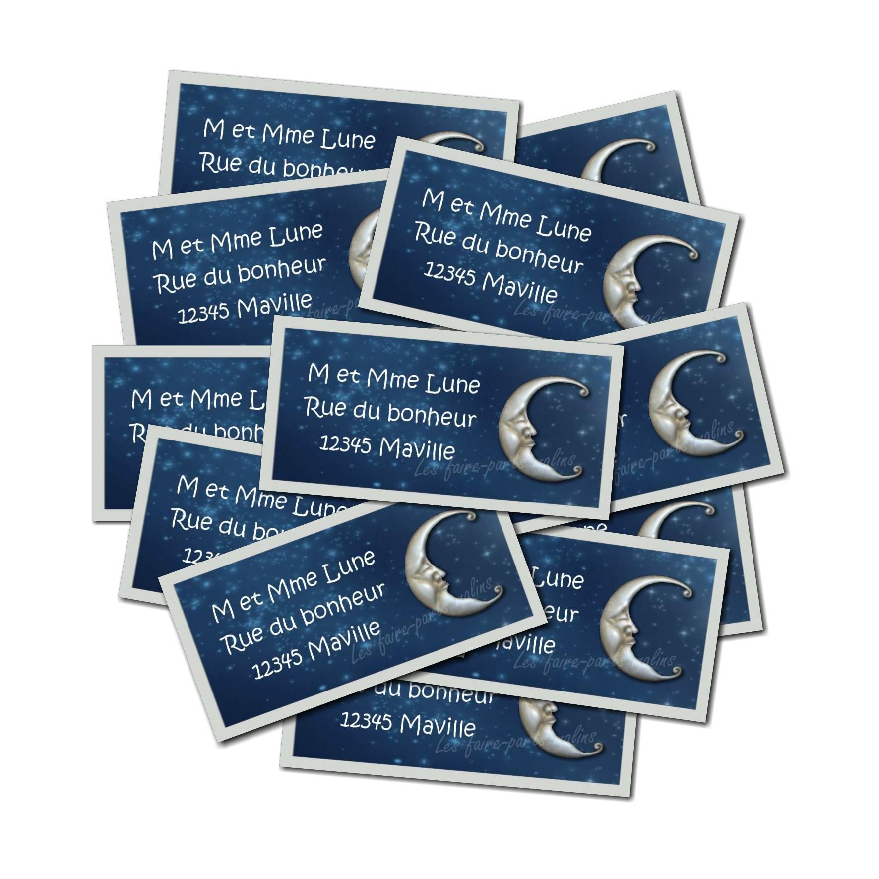 lot Etiquette dragées bleu nuit avec jolie lune argenté