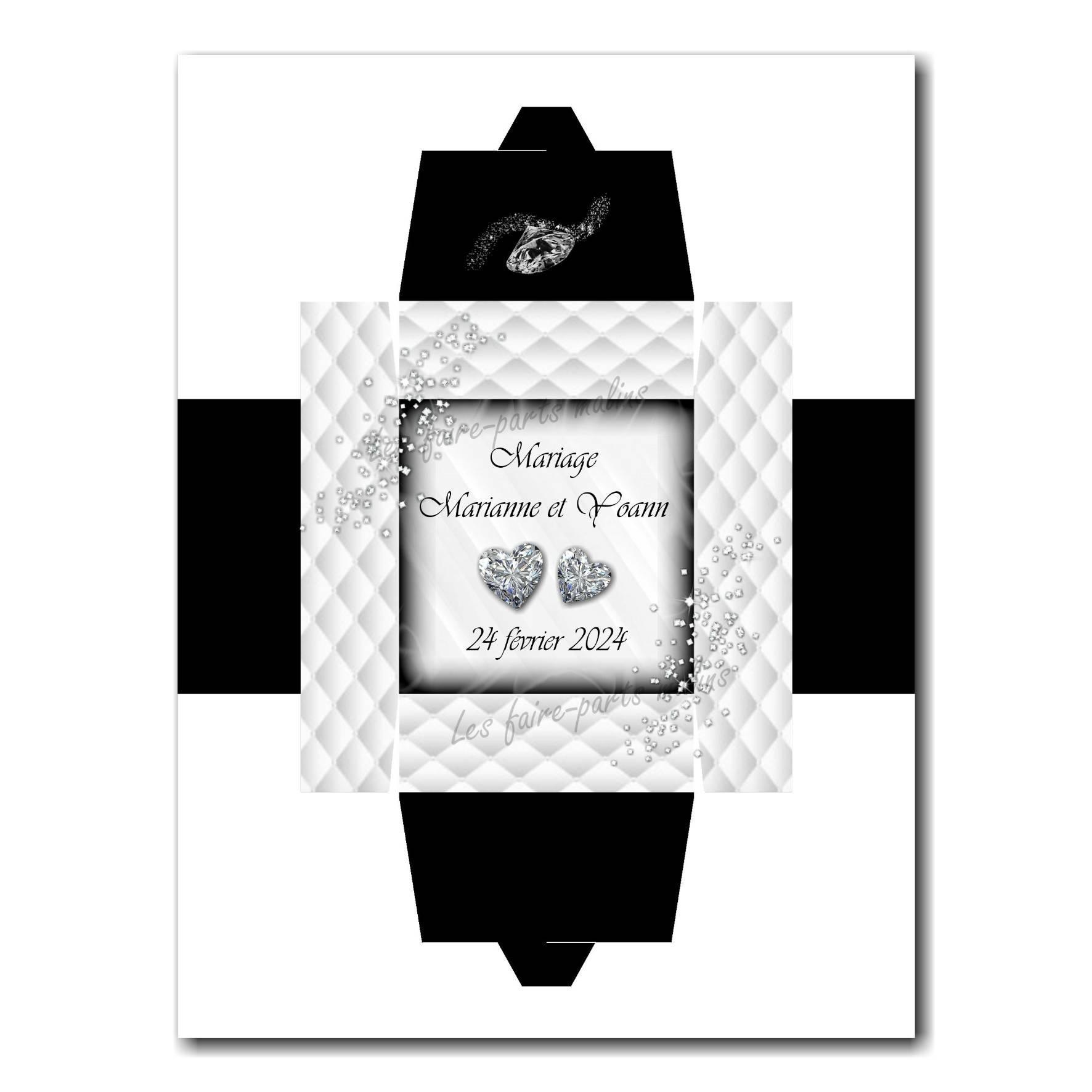 Boite noir et blanc avec diamants en coeur