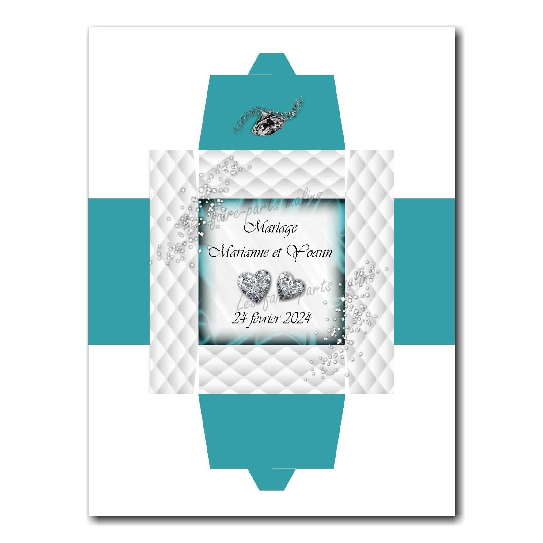 Boite turquoise et blanc avec diamants en coeur