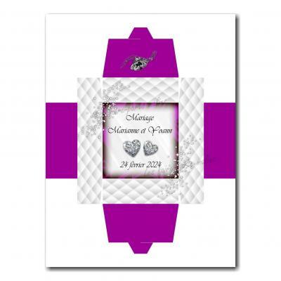Boite violet et blanc avec diamants en coeur