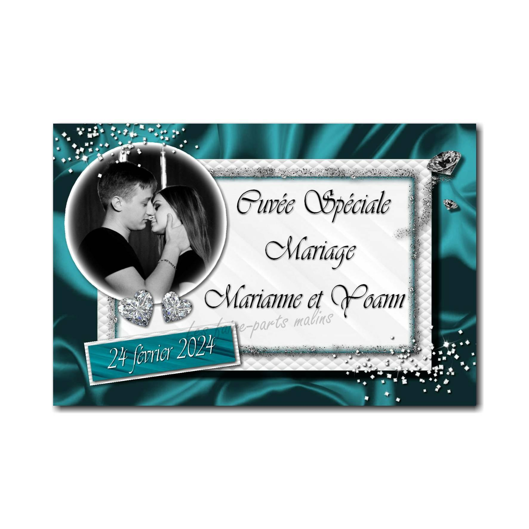 40 mariage bouteille turquoise diamant