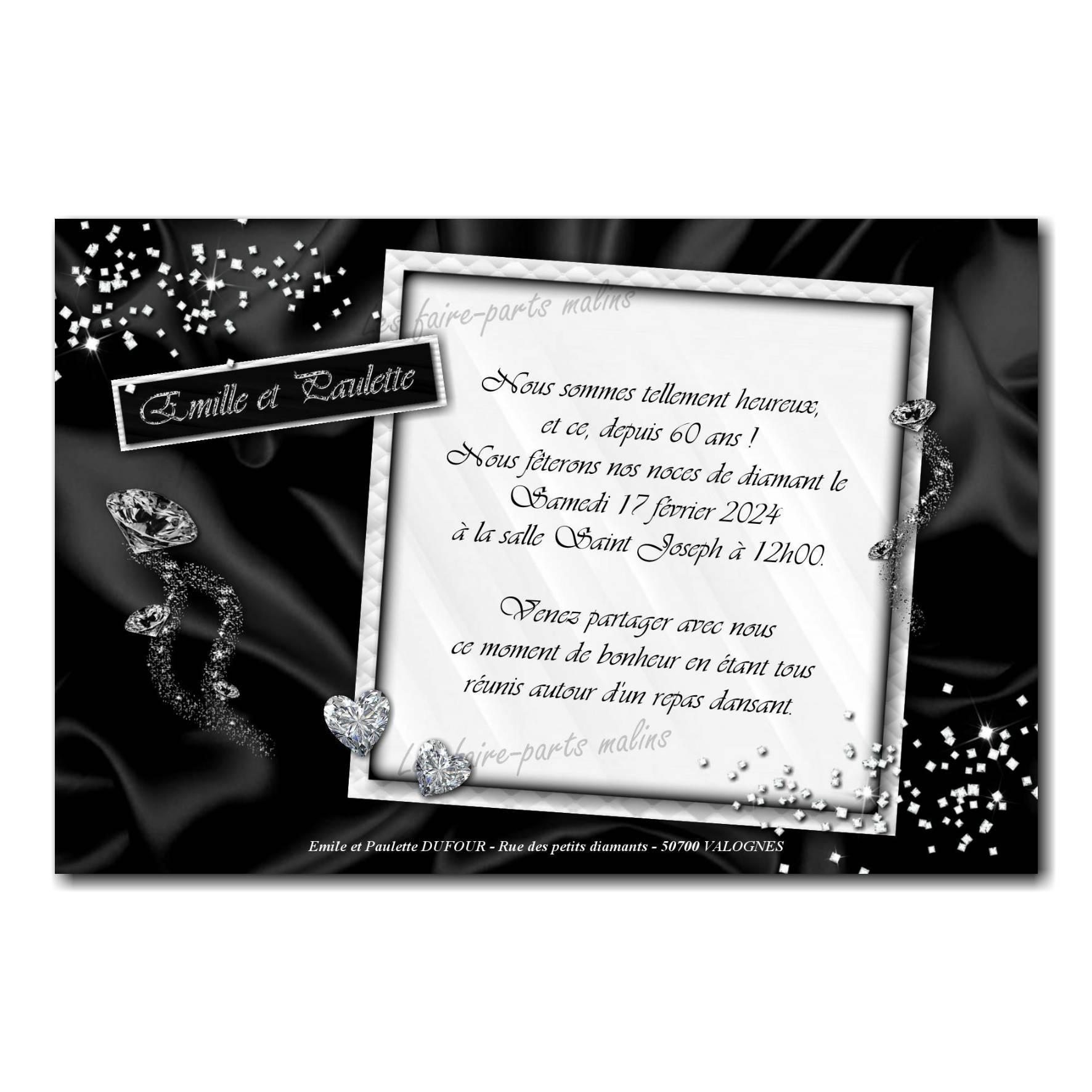 Faire part noir et blanc diamant anniversaire de mariage
