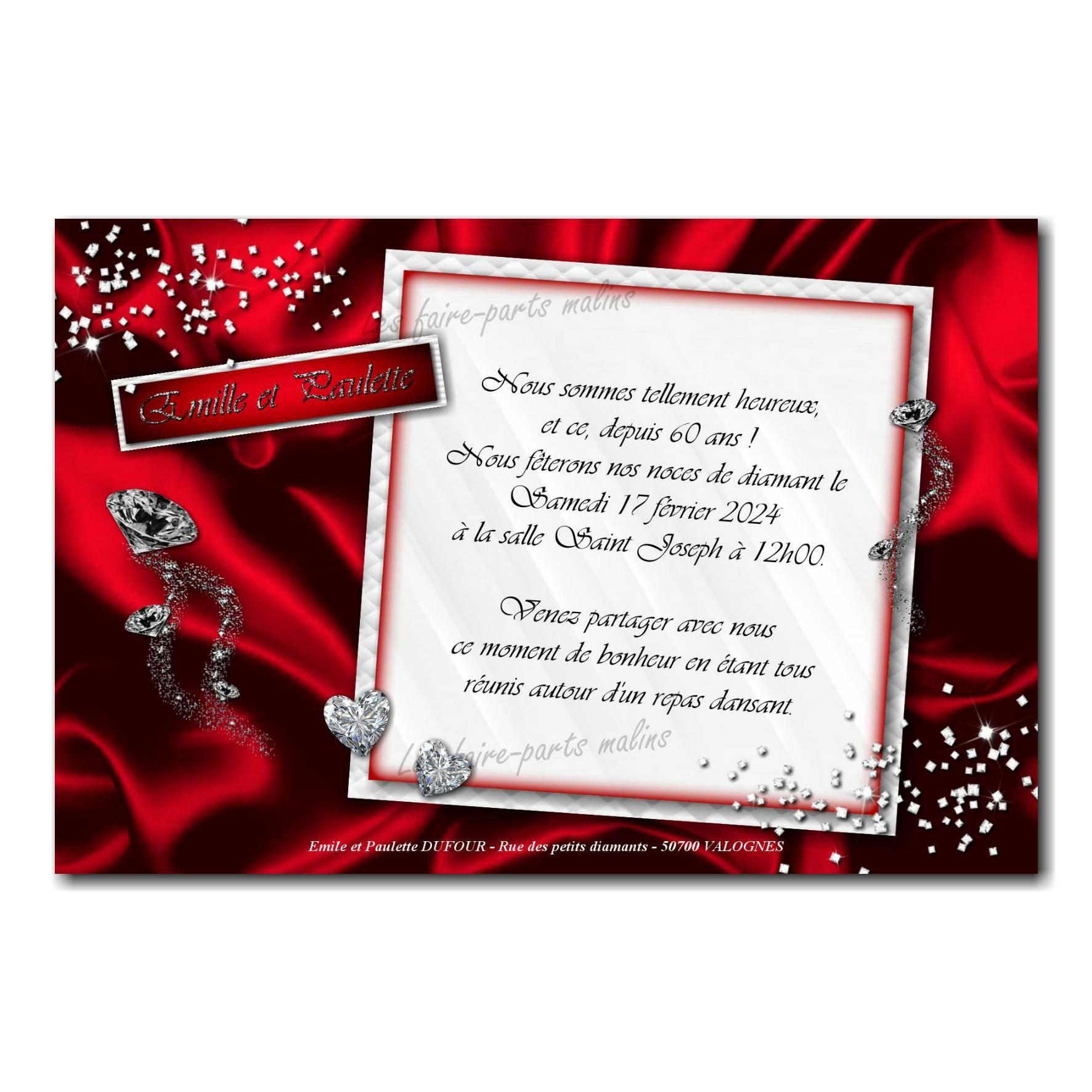 Faire part rouge et blanc diamant anniversaire de mariage