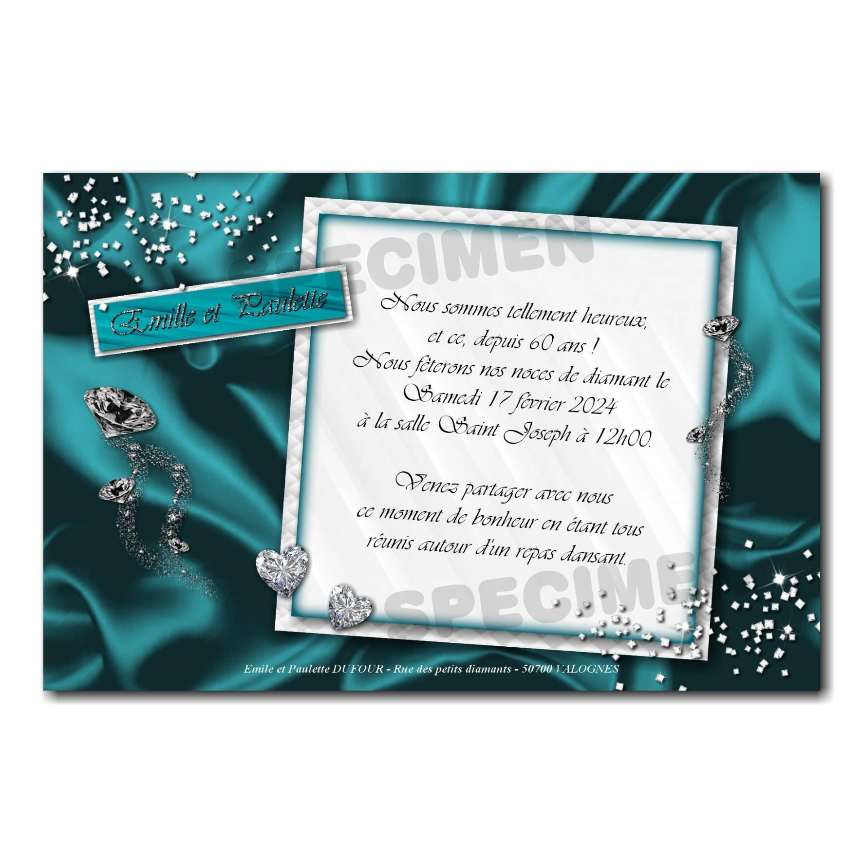 Faire part turquoise et blanc diamant anniversaire de mariage