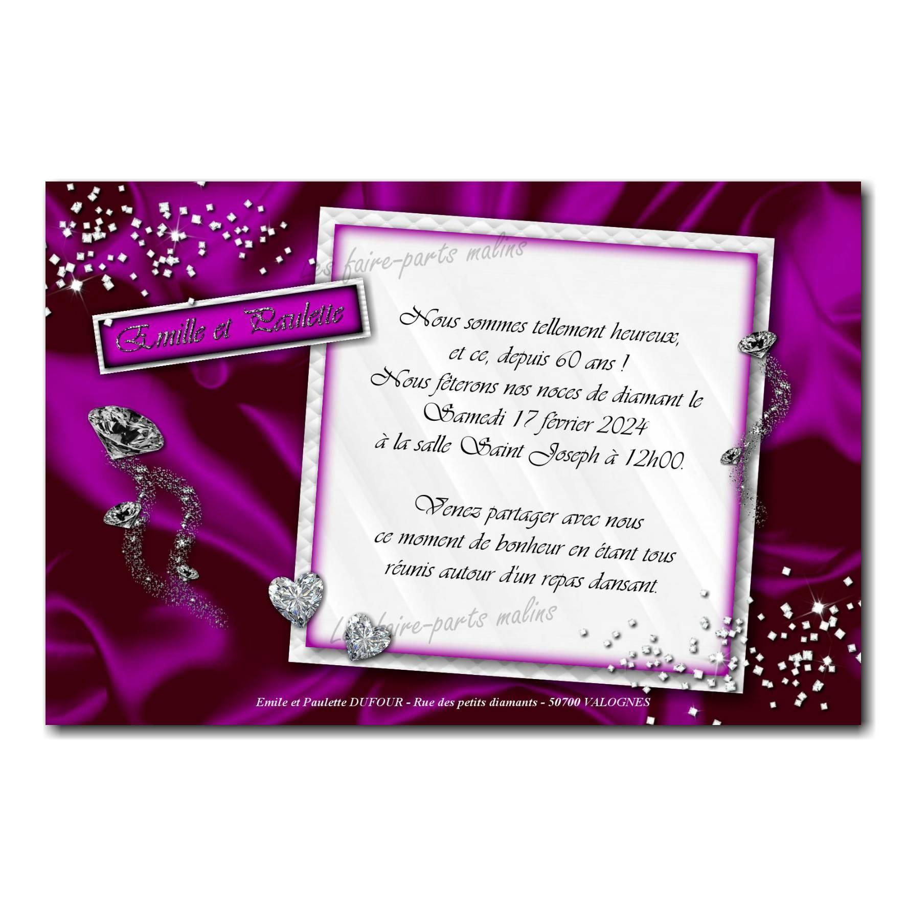 Faire part violet et blanc diamant anniversaire de mariage