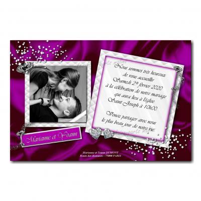 40 mariage faire part violet diamant
