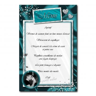carte de menu turquoise et blanc rivière de diamants