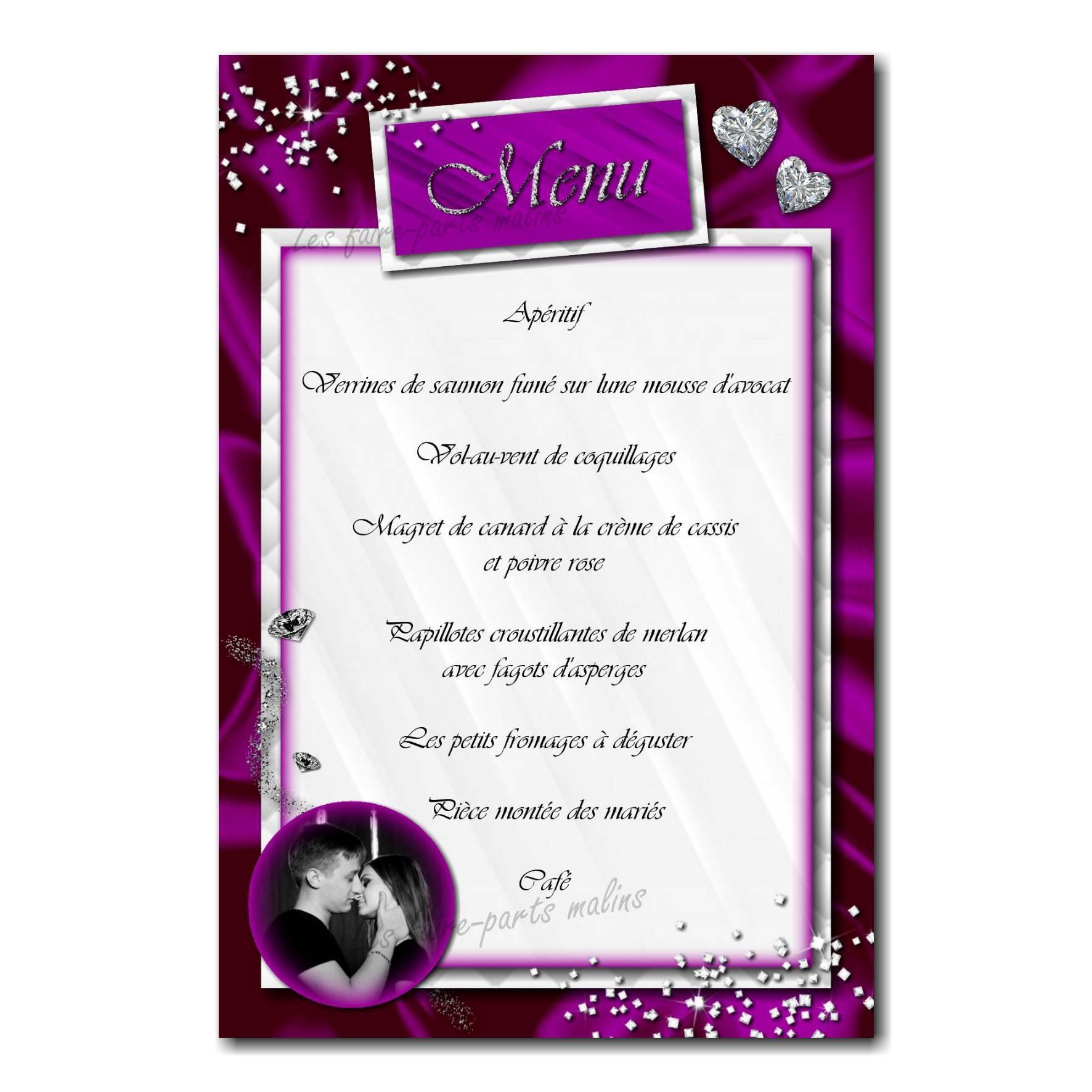carte de menu violet et blanc rivière de diamants
