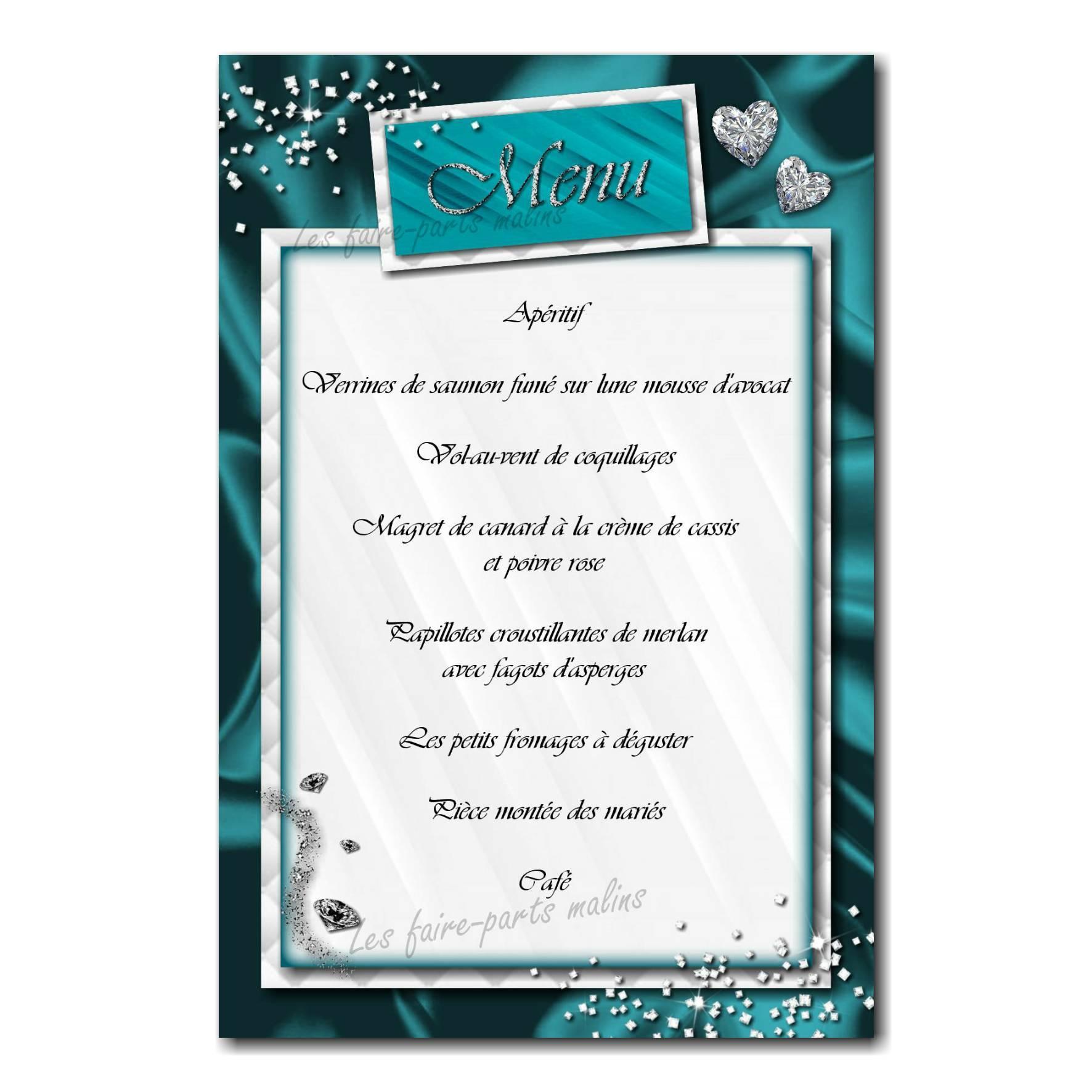 40 mariage menu turquoise
