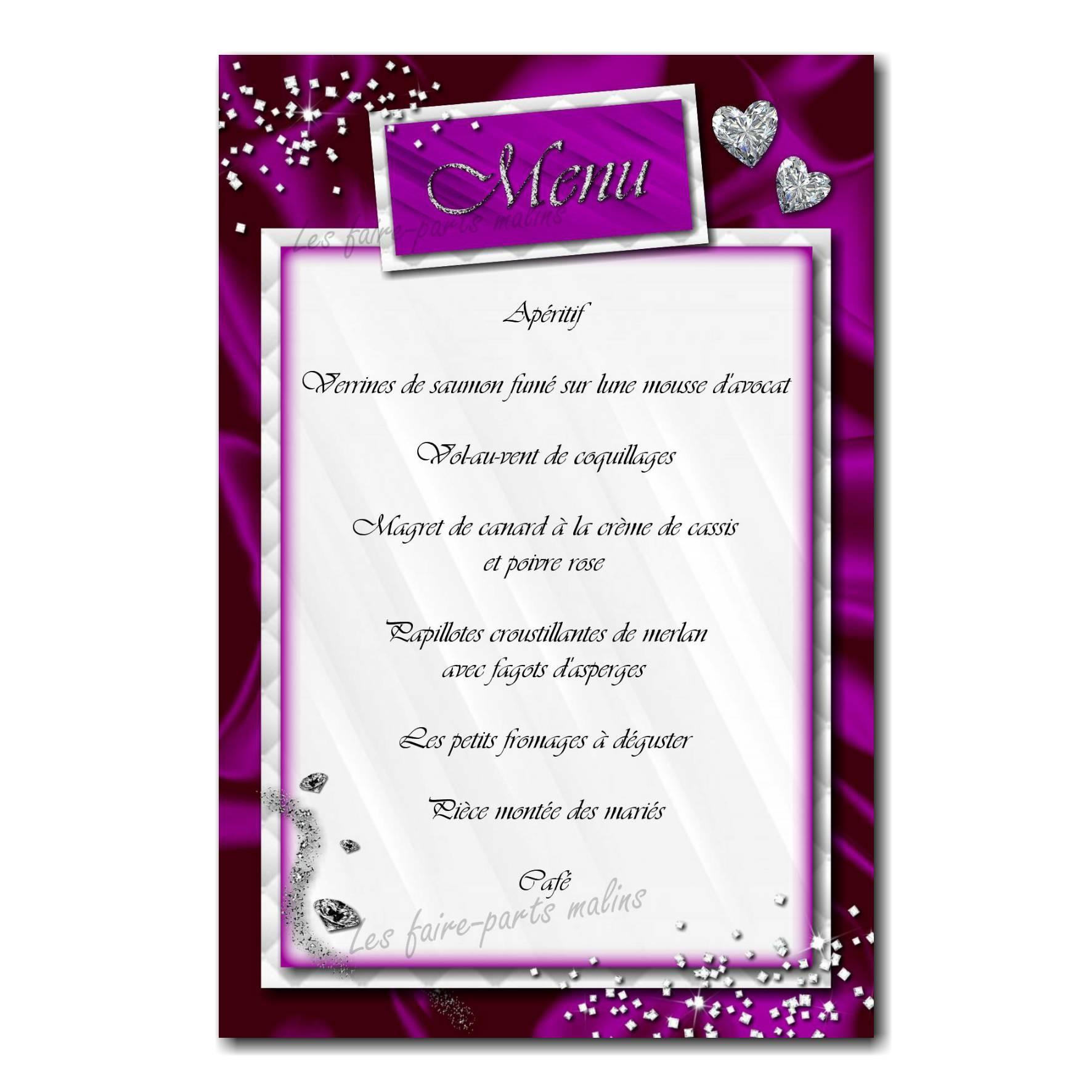carte de menu petits diamants sur fond violet