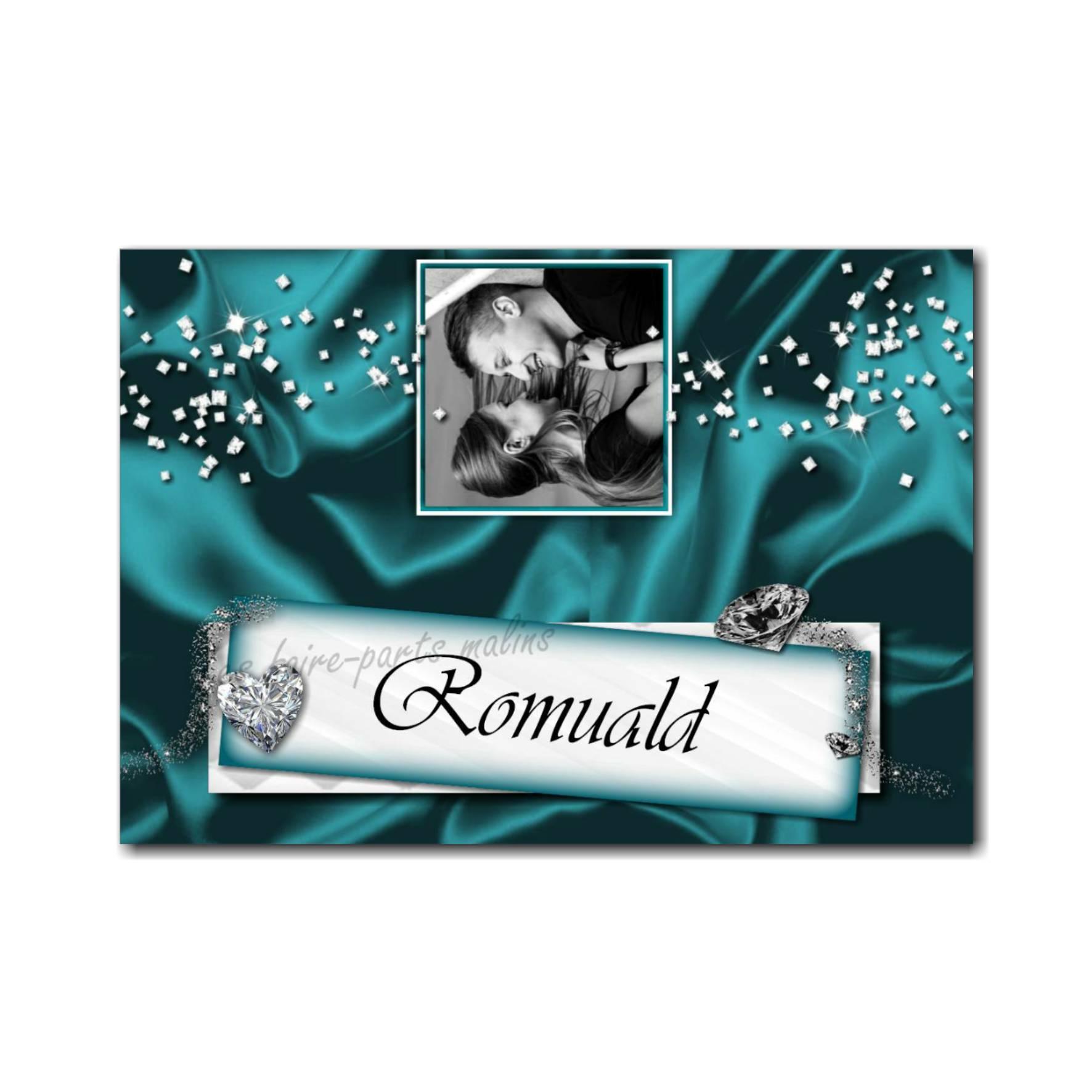 marque-place avec photo diamants éclat turquoise