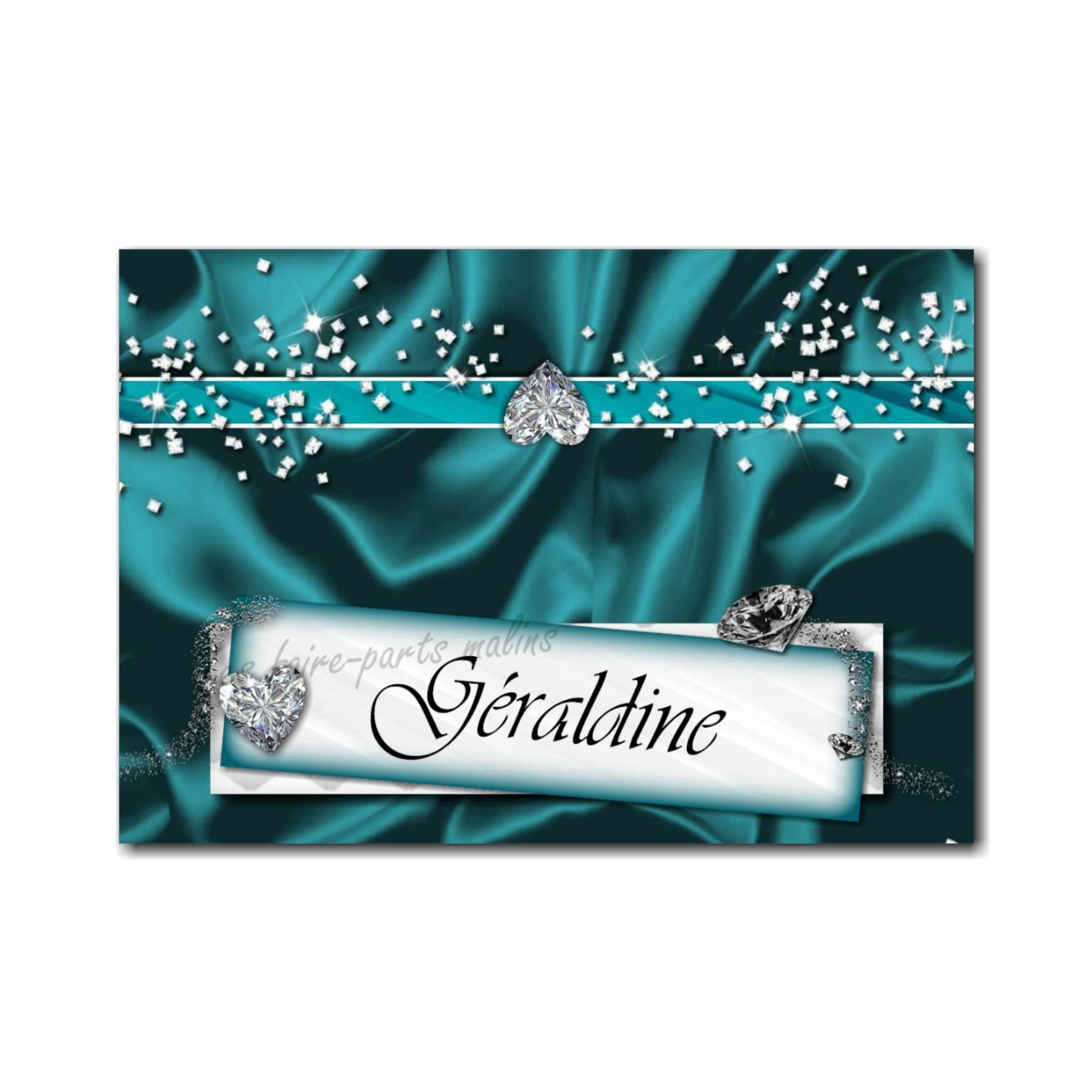 marque-place turquoise avec rivière de diamant